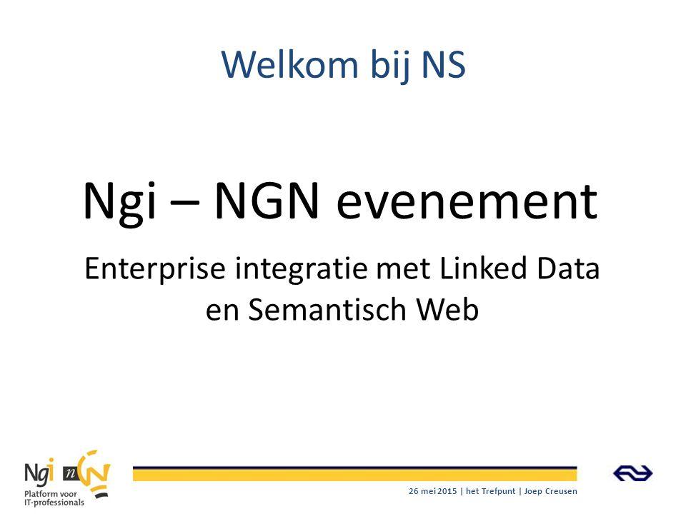 Welkom bij NS Enterprise integratie met Linked Data en Semantisch Web Ngi – NGN evenement 26 mei 2015 | het Trefpunt | Joep Creusen