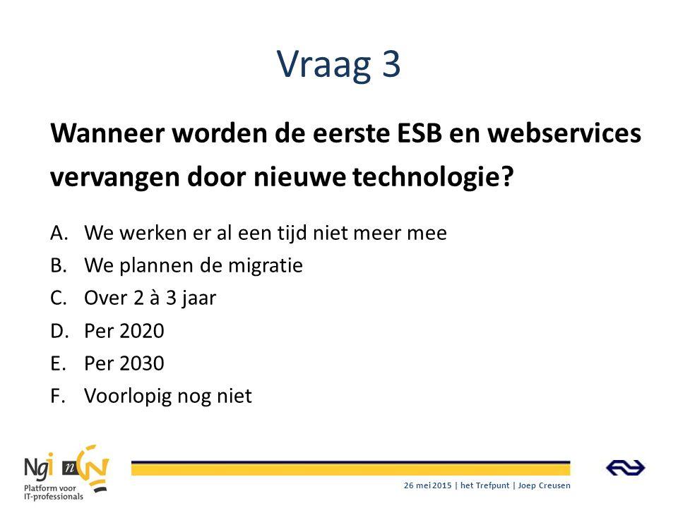 Vraag 3 Wanneer worden de eerste ESB en webservices vervangen door nieuwe technologie? A.We werken er al een tijd niet meer mee B.We plannen de migrat