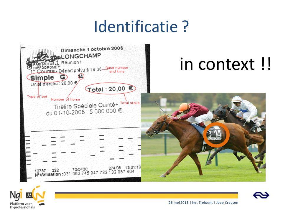 Identificatie ? 26 mei 2015 | het Trefpunt | Joep Creusen 1 in context !!