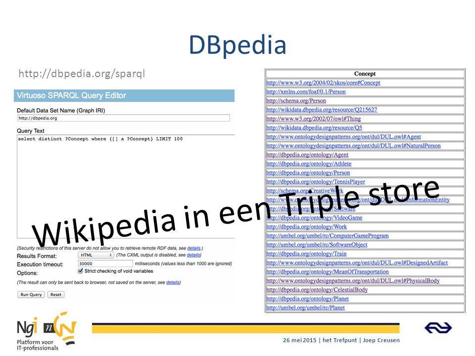 DBpedia http://dbpedia.org/sparql 26 mei 2015 | het Trefpunt | Joep Creusen Wikipedia in een Triple store