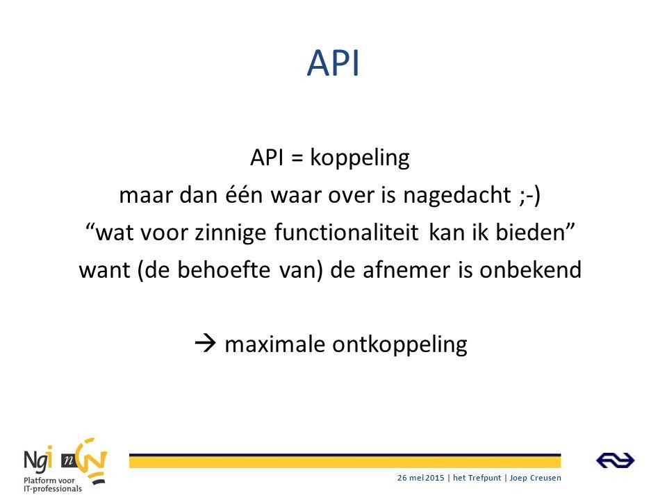 """API API = koppeling maar dan één waar over is nagedacht ;-) """"wat voor zinnige functionaliteit kan ik bieden"""" want (de behoefte van) de afnemer is onbe"""