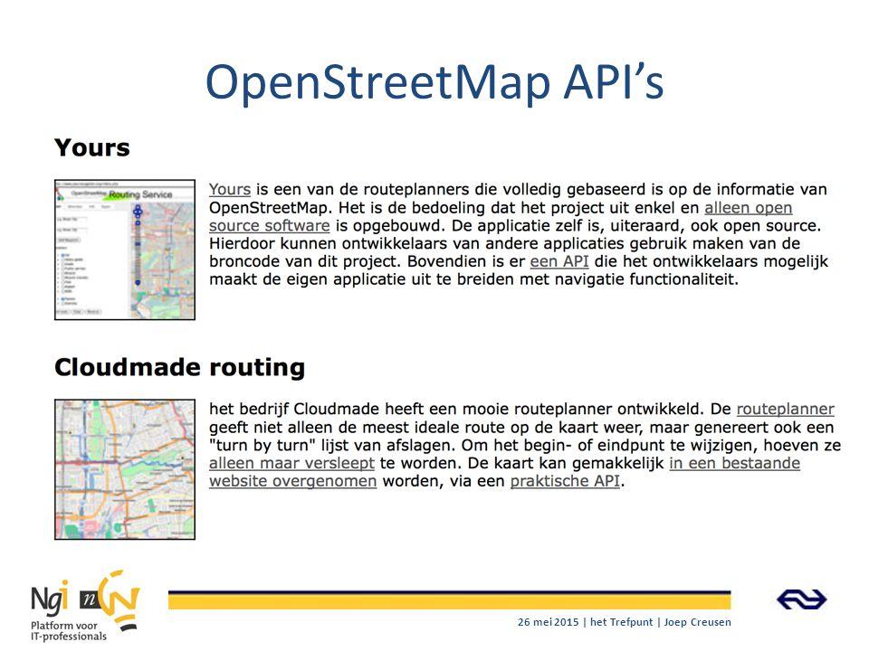 OpenStreetMap API's 26 mei 2015 | het Trefpunt | Joep Creusen