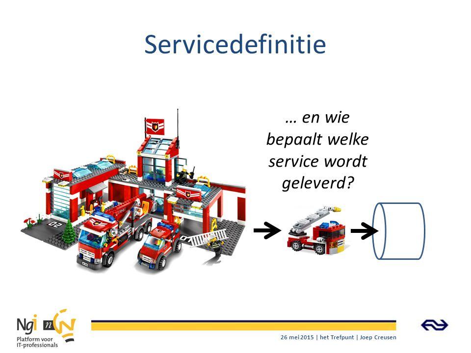 Servicedefinitie … en wie bepaalt welke service wordt geleverd? 26 mei 2015 | het Trefpunt | Joep Creusen