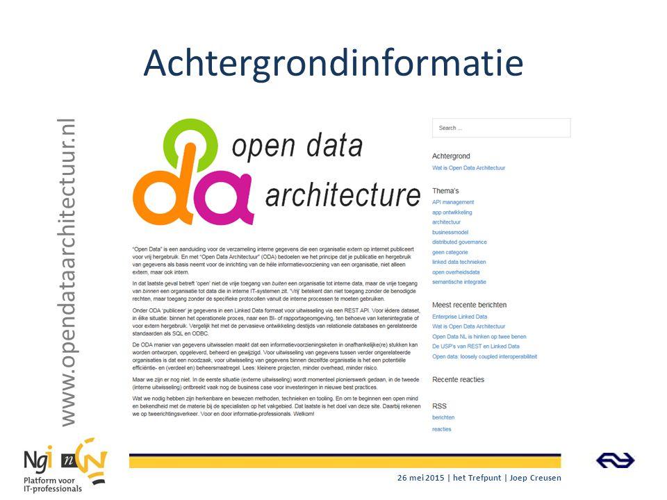 Achtergrondinformatie www.opendataarchitectuur.nl 26 mei 2015 | het Trefpunt | Joep Creusen