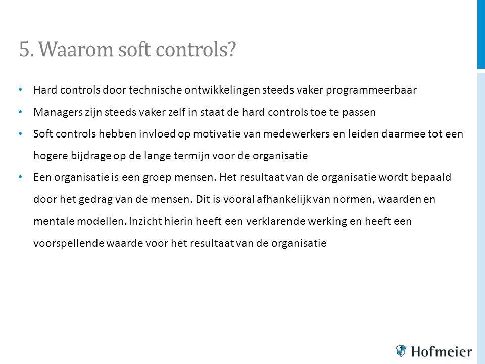 5. Waarom soft controls? Hard controls door technische ontwikkelingen steeds vaker programmeerbaar Managers zijn steeds vaker zelf in staat de hard co