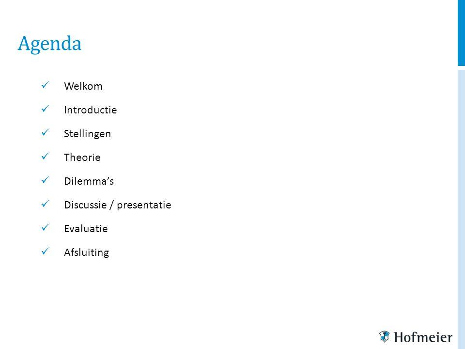Agenda Welkom Introductie Stellingen Theorie Dilemma's Discussie / presentatie Evaluatie Afsluiting