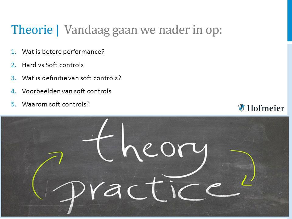 Theorie   Vandaag gaan we nader in op: 1.Wat is betere performance? 2.Hard vs Soft controls 3.Wat is definitie van soft controls? 4.Voorbeelden van so