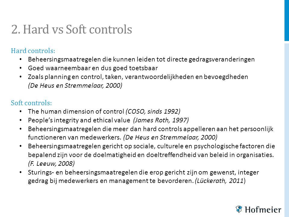 2. Hard vs Soft controls Hard controls: Beheersingsmaatregelen die kunnen leiden tot directe gedragsveranderingen Goed waarneembaar en dus goed toetsb
