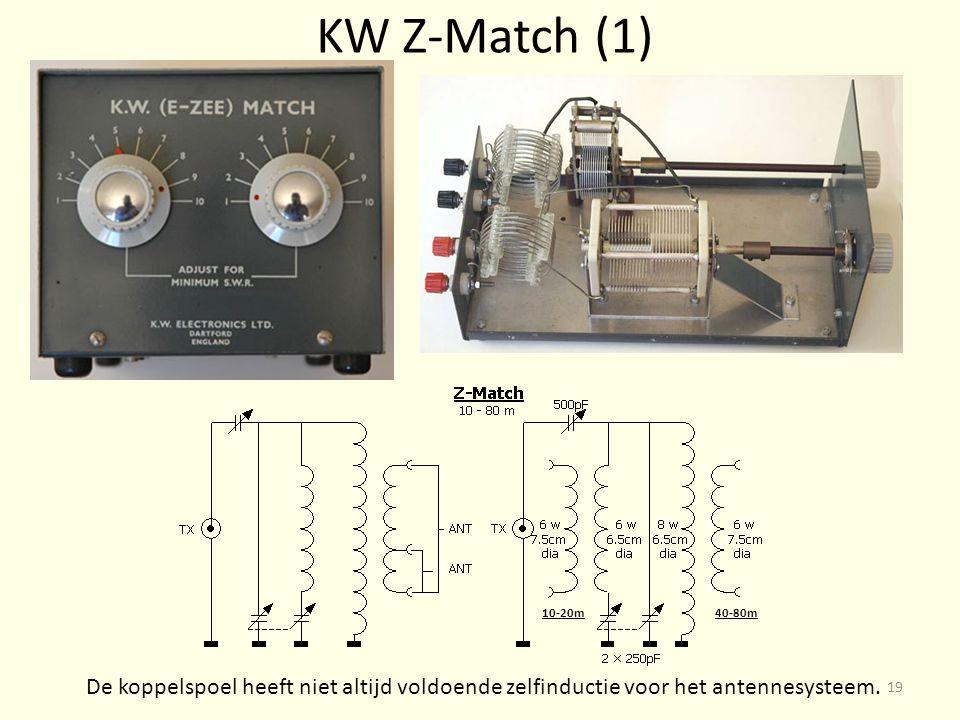 KW Z-Match (1) De koppelspoel heeft niet altijd voldoende zelfinductie voor het antennesysteem.