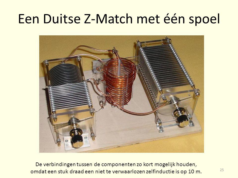 Een Duitse Z-Match met één spoel De verbindingen tussen de componenten zo kort mogelijk houden, omdat een stuk draad een niet te verwaarlozen zelfinductie is op 10 m.