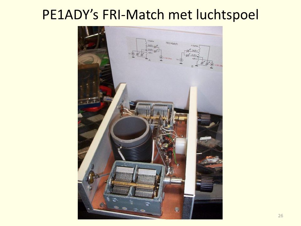 PE1ADY's FRI-Match met luchtspoel 26