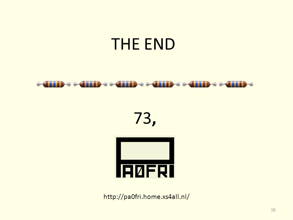 THE END 73, http://pa0fri.home.xs4all.nl/ 38
