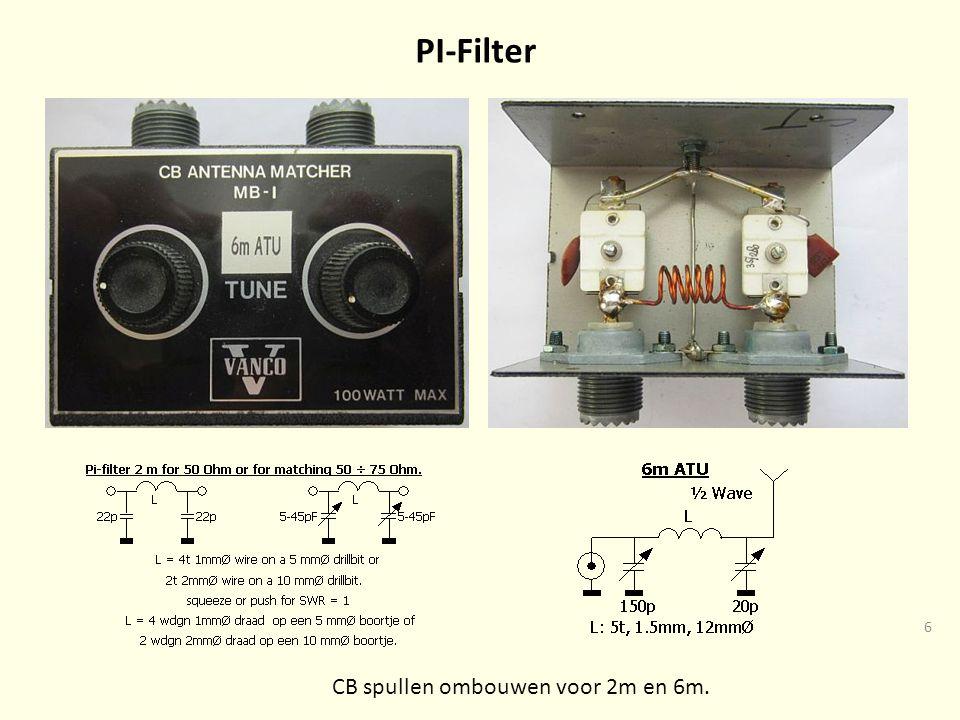 6 PI-Filter CB spullen ombouwen voor 2m en 6m.