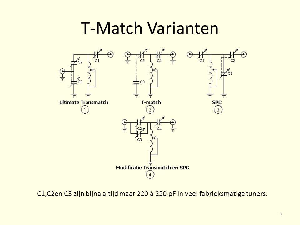 T-Match Varianten C1,C2en C3 zijn bijna altijd maar 220 à 250 pF in veel fabrieksmatige tuners. 7