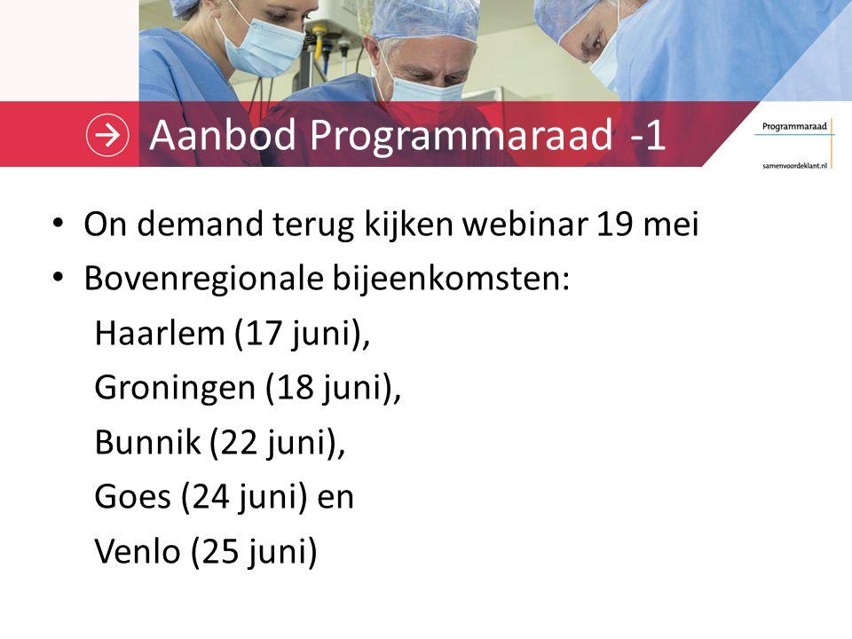 Aanbod Programmaraad -2 PPS-campagne, start op 1 juni Collegiale reviews, vanaf 15 juni (informatie bij Arjan Kampman) Webinar banenafspraak, 23 juni (aanmelden via ww.samenvoordeklant.nl)