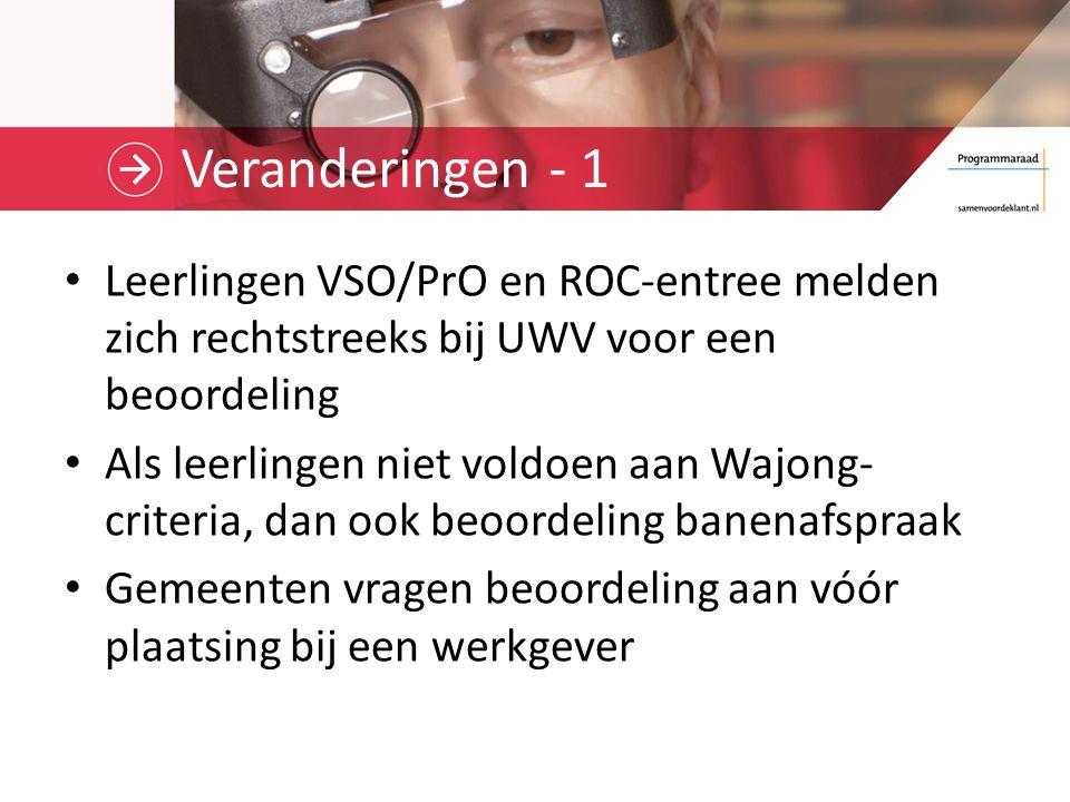Veranderingen - 2 Centrale financiering beoordelingen banenafspraak, beschut werk en medisch urenbeperkten Gemeenten en UWV maken afspraken over overdracht Wajong-netwerken.