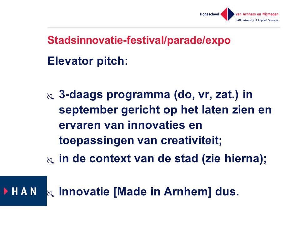 Stadsinnovatie-festival/parade/expo Elevator pitch:  3-daags programma (do, vr, zat.) in september gericht op het laten zien en ervaren van innovatie