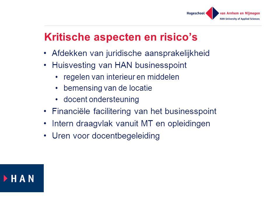 Kritische aspecten en risico's Afdekken van juridische aansprakelijkheid Huisvesting van HAN businesspoint regelen van interieur en middelen bemensing