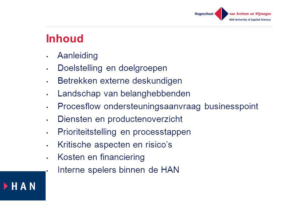 Inhoud Aanleiding Doelstelling en doelgroepen Betrekken externe deskundigen Landschap van belanghebbenden Procesflow ondersteuningsaanvraag businesspo