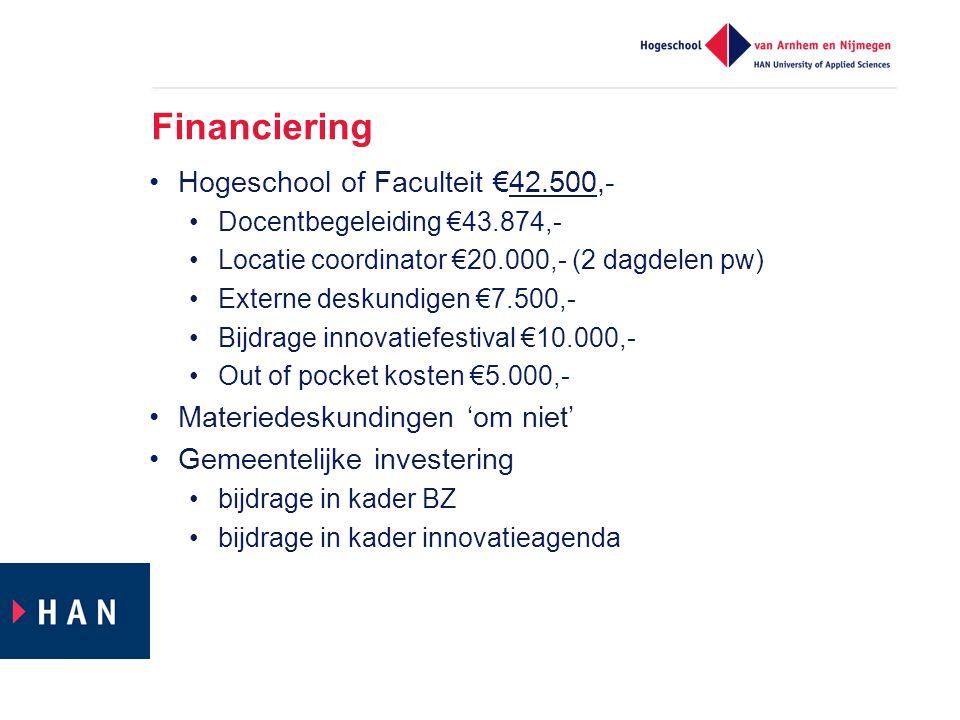 Financiering Hogeschool of Faculteit €42.500,- Docentbegeleiding €43.874,- Locatie coordinator €20.000,- (2 dagdelen pw) Externe deskundigen €7.500,-