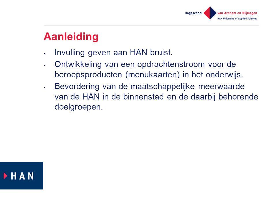 Aanleiding Invulling geven aan HAN bruist. Ontwikkeling van een opdrachtenstroom voor de beroepsproducten (menukaarten) in het onderwijs. Bevordering