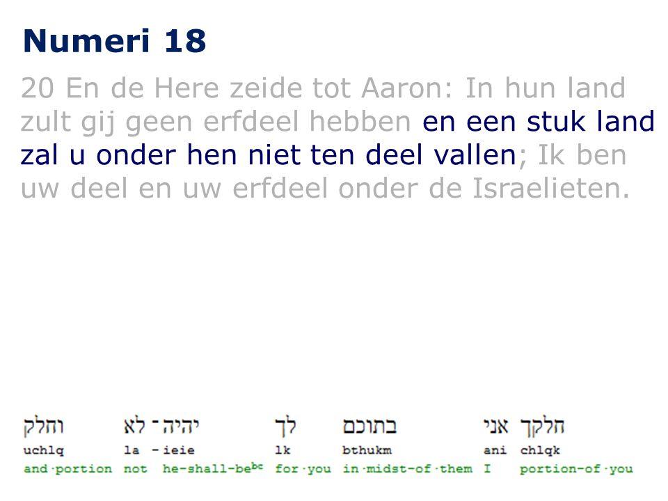 Numeri 18 20 En de Here zeide tot Aaron: In hun land zult gij geen erfdeel hebben en een stuk land zal u onder hen niet ten deel vallen; Ik ben uw deel en uw erfdeel onder de Israelieten.
