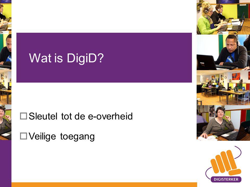  Sleutel tot de e-overheid  Veilige toegang Wat is DigiD