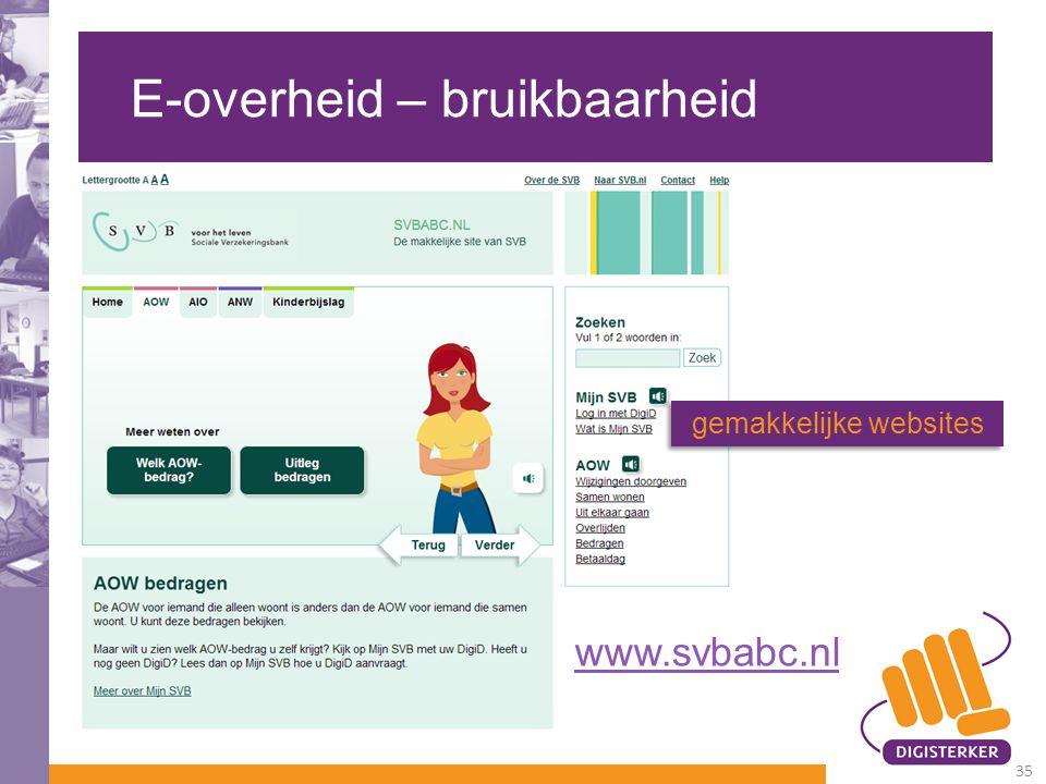 E-overheid – bruikbaarheid gemakkelijke websites www.svbabc.nl 35