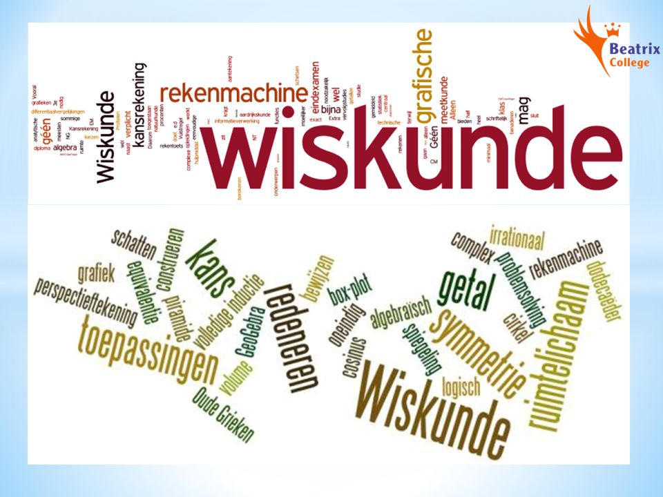 WISKUNDE C Algebra Tellen Verbanden Veranderingen Statistiek Kansrekening Logisch redeneren Vorm en ruimte Keuzeonderwerpen N.B.
