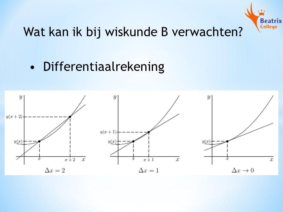 Wat kan ik bij wiskunde B verwachten? Differentiaalrekening