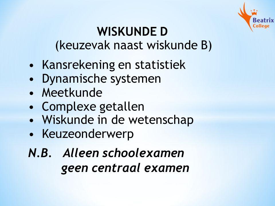 WISKUNDE D Kansrekening en statistiek Dynamische systemen Meetkunde Complexe getallen Wiskunde in de wetenschap (keuzevak naast wiskunde B) Keuzeonderwerp N.B.