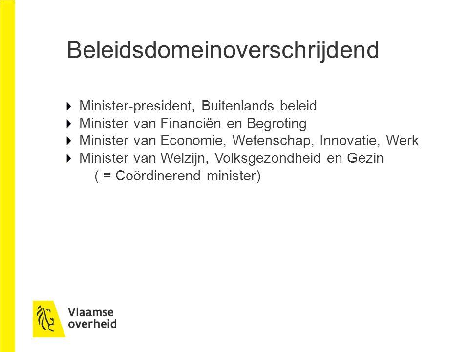 Beleidsdomeinoverschrijdend Minister-president, Buitenlands beleid Minister van Financiën en Begroting Minister van Economie, Wetenschap, Innovatie, W