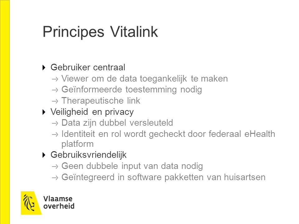 Principes Vitalink Gebruiker centraal Viewer om de data toegankelijk te maken Geïnformeerde toestemming nodig Therapeutische link Veiligheid en privac