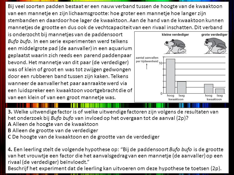 3. Welke uitwendige factor is of welke uitwendige factoren zijn volgens de resultaten van het onderzoek bij Bufo bufo van invloed op het overgaan tot