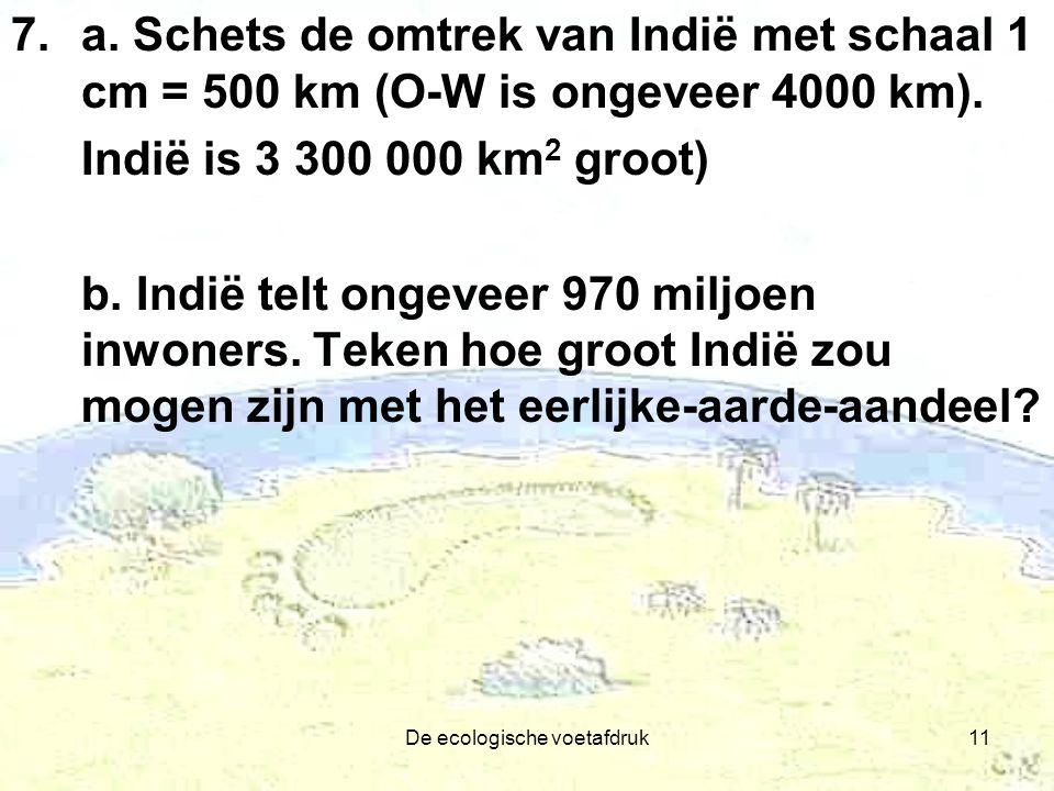 De ecologische voetafdruk11 7.a. Schets de omtrek van Indië met schaal 1 cm = 500 km (O-W is ongeveer 4000 km). Indië is 3 300 000 km 2 groot) b. Indi