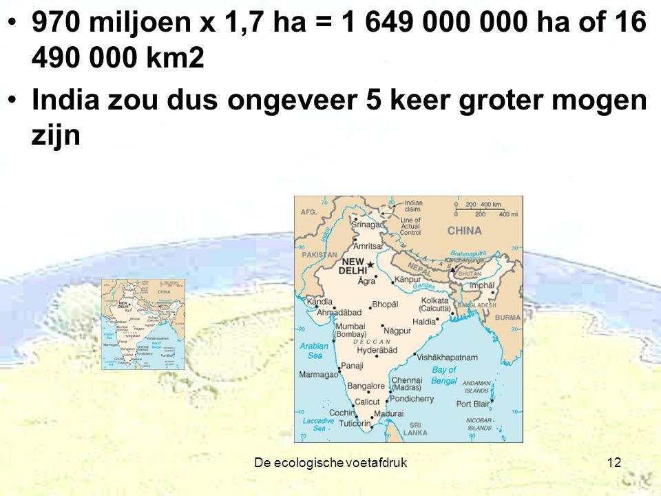 De ecologische voetafdruk12 970 miljoen x 1,7 ha = 1 649 000 000 ha of 16 490 000 km2 India zou dus ongeveer 5 keer groter mogen zijn