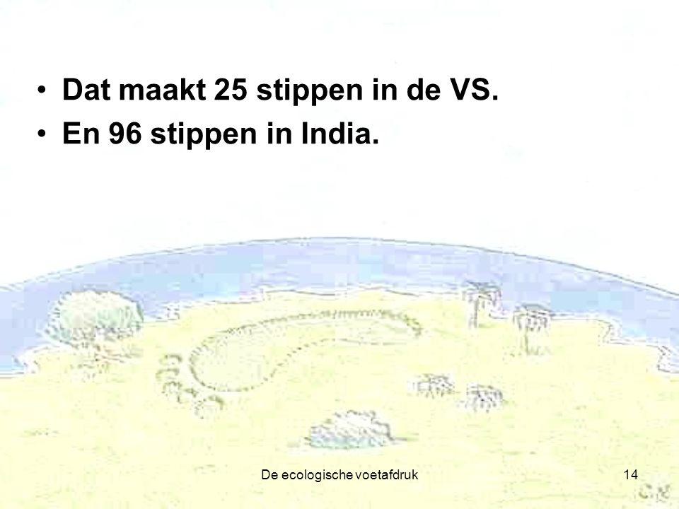 De ecologische voetafdruk14 Dat maakt 25 stippen in de VS. En 96 stippen in India.