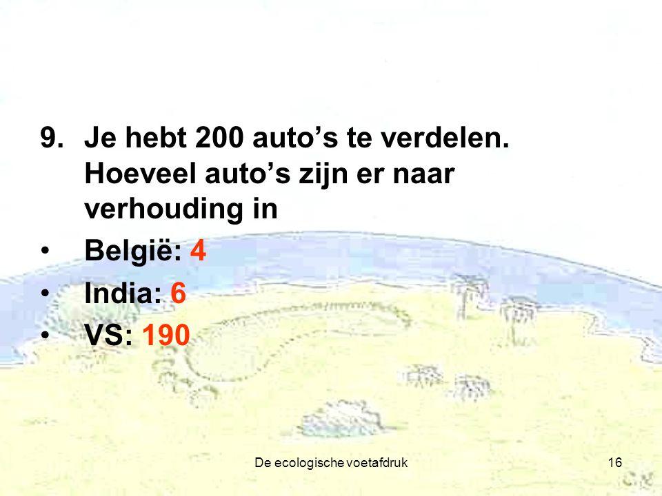De ecologische voetafdruk16 9.Je hebt 200 auto's te verdelen. Hoeveel auto's zijn er naar verhouding in België: 4 India: 6 VS: 190