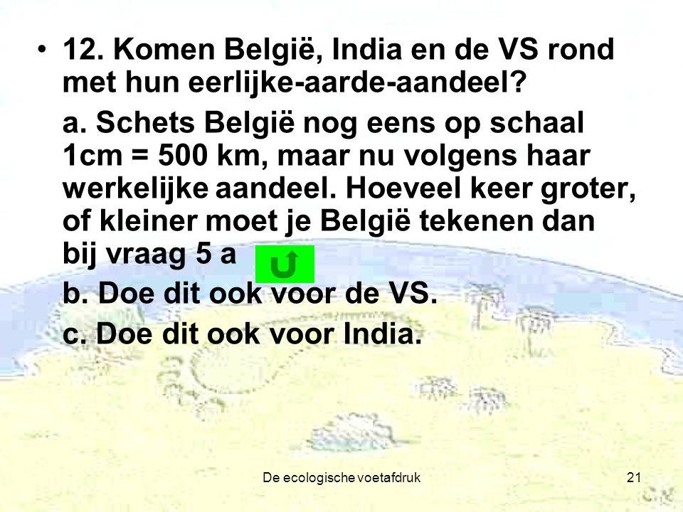 De ecologische voetafdruk21 12. Komen België, India en de VS rond met hun eerlijke-aarde-aandeel? a. Schets België nog eens op schaal 1cm = 500 km, ma