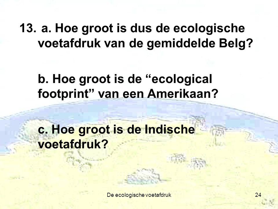 """De ecologische voetafdruk24 13. a. Hoe groot is dus de ecologische voetafdruk van de gemiddelde Belg? b. Hoe groot is de """"ecological footprint"""" van ee"""
