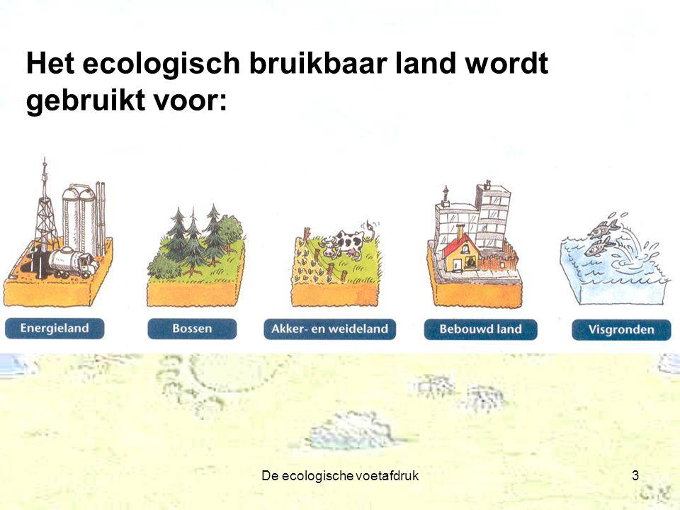 De ecologische voetafdruk3 Het ecologisch bruikbaar land wordt gebruikt voor: