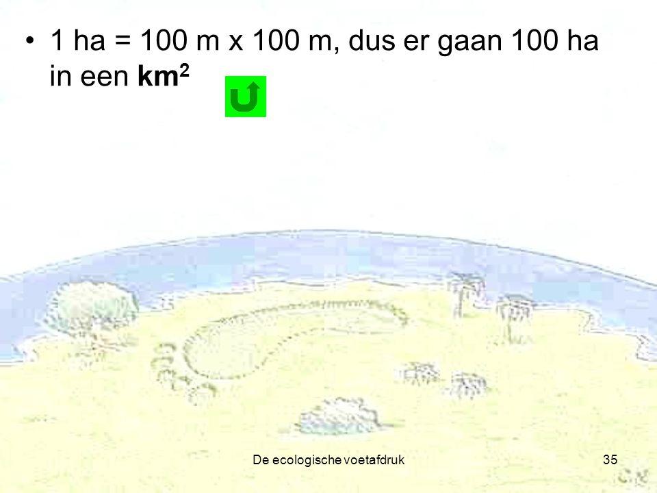 De ecologische voetafdruk35 1 ha = 100 m x 100 m, dus er gaan 100 ha in een km 2