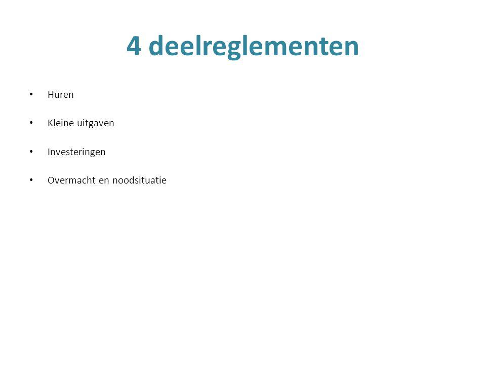 Huren Kleine uitgaven Investeringen Overmacht en noodsituatie 4 deelreglementen