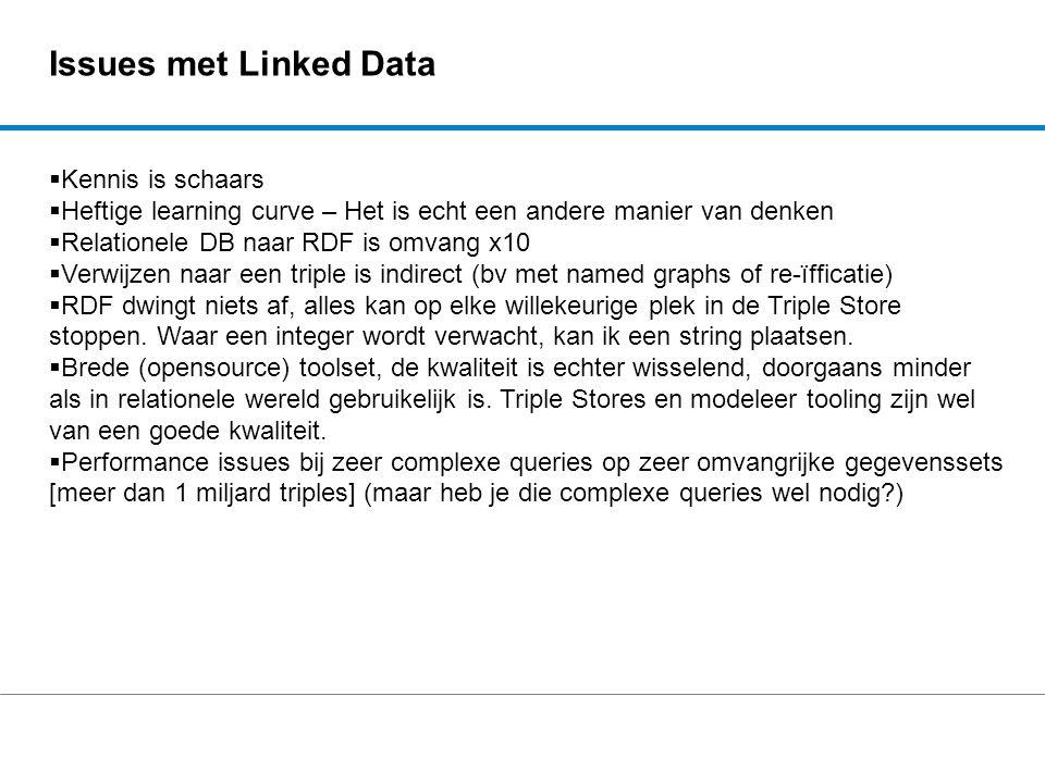 Issues met Linked Data  Kennis is schaars  Heftige learning curve – Het is echt een andere manier van denken  Relationele DB naar RDF is omvang x10
