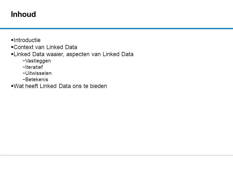 Inhoud  Introductie  Context van Linked Data  Linked Data waaier, aspecten van Linked Data − Vastleggen − Iteratief − Uitwisselen − Betekenis  Wat