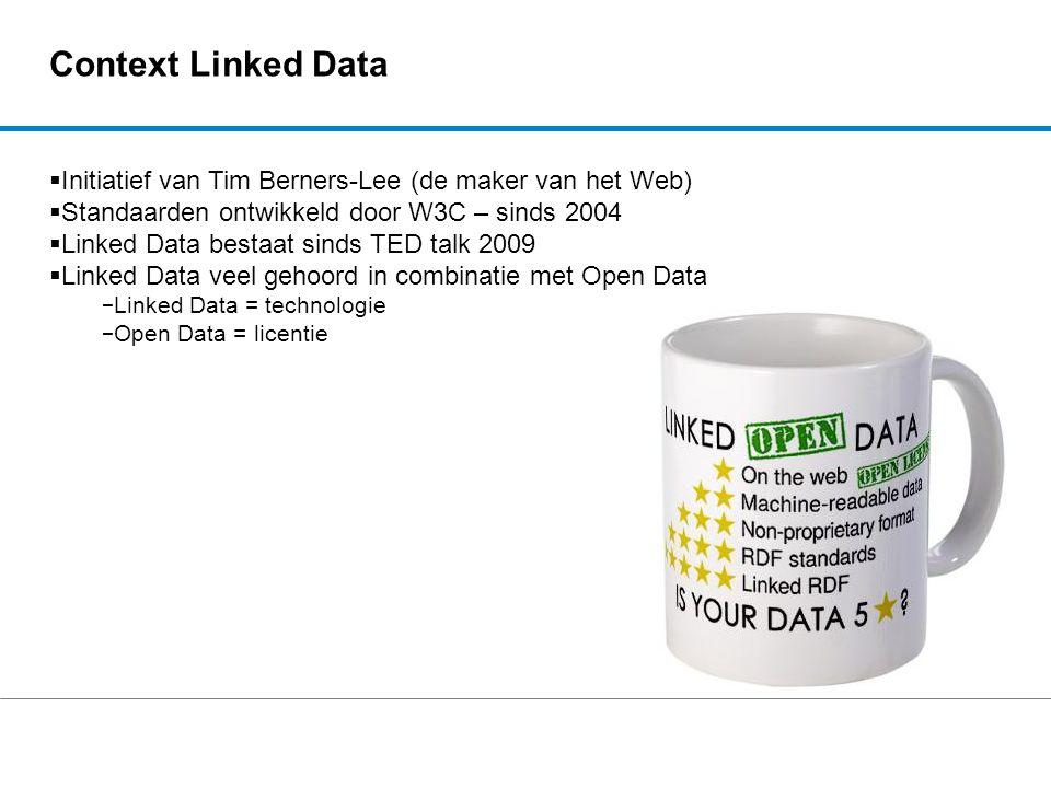 Context Linked Data  Initiatief van Tim Berners-Lee (de maker van het Web)  Standaarden ontwikkeld door W3C – sinds 2004  Linked Data bestaat sinds