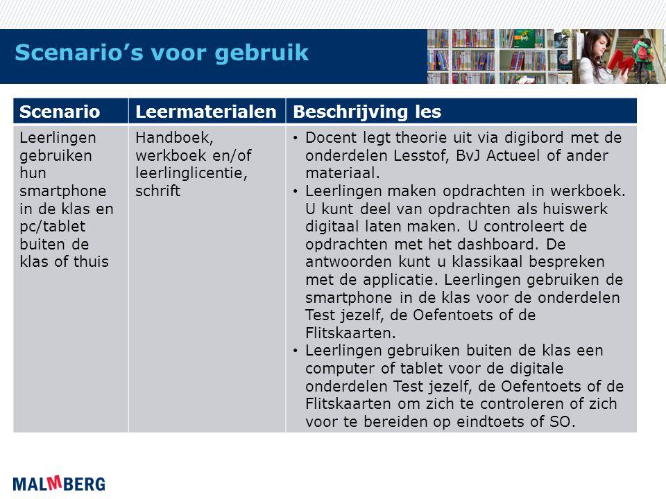 Scenario's voor gebruik ScenarioLeermaterialenBeschrijving les Leerlingen gebruiken hun smartphone in de klas en pc/tablet buiten de klas of thuis Han