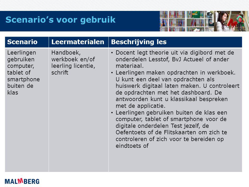 Scenario's voor gebruik ScenarioLeermaterialenBeschrijving les Leerlingen gebruiken computer, tablet of smartphone buiten de klas Handboek, werkboek e