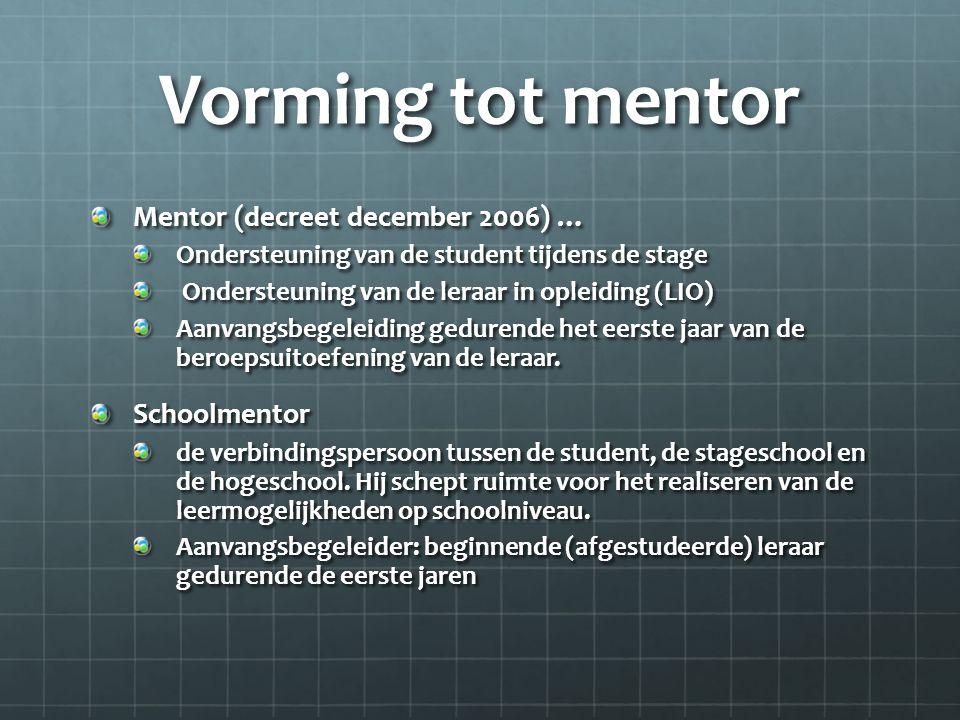 Vorming tot mentor Mentor (decreet december 2006) … Ondersteuning van de student tijdens de stage Ondersteuning van de leraar in opleiding (LIO) Ondersteuning van de leraar in opleiding (LIO) Aanvangsbegeleiding gedurende het eerste jaar van de beroepsuitoefening van de leraar.