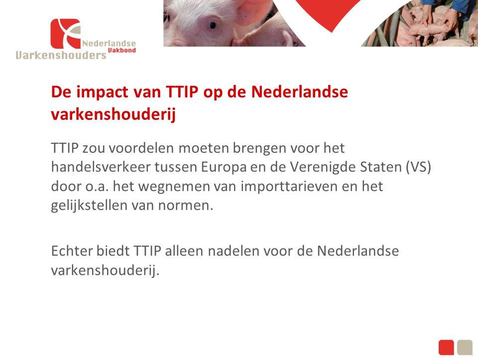 Klik om de modelstijlen te bewerken Tweede niveau De impact van TTIP op de Nederlandse varkenshouderij TTIP zou voordelen moeten brengen voor het handelsverkeer tussen Europa en de Verenigde Staten (VS) door o.a.